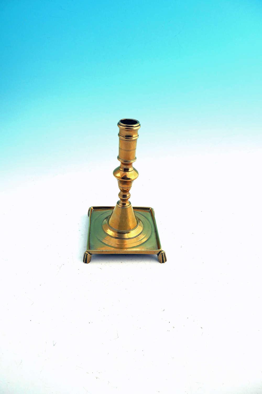 Antique Metalware 17thc Brass Square Based Candlestick. Spanish C1680