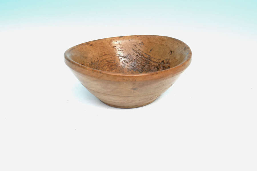 Antique 19thc Treen Turned Sycamore Condiment Bowl / Salt.   English