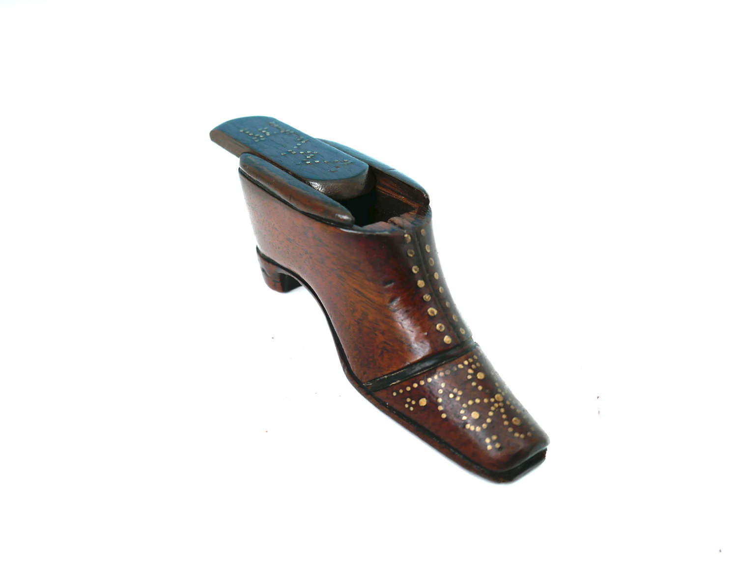 Antique Treen 19thc Fruitwood Snuff Shoe With Brass Decoration.