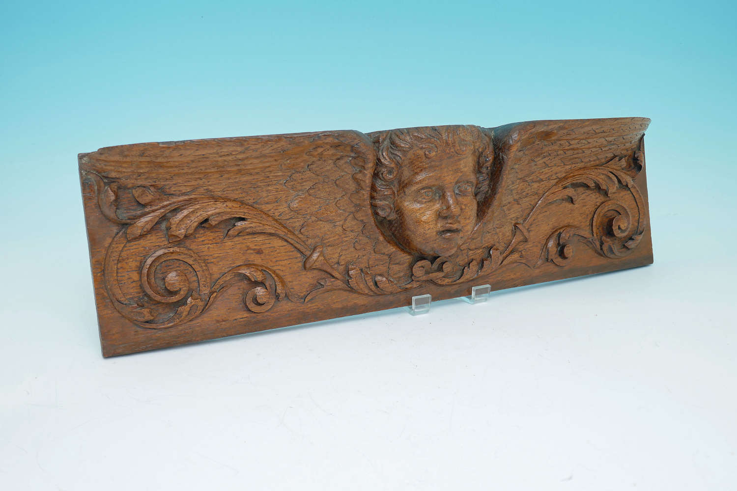 Antique Oak Carved 17thc Winged Angel.  French C1660-80.