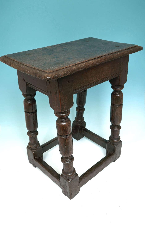 Early 17thc Oak Furniture Joyned Stool .West Country- English C1620-30