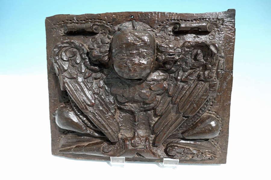 Antique Elizabethan 16thc Oak Carved Winged Angel Panel. English C1560
