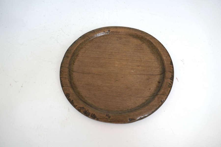 Antique Treen 18thc Sycamore Raised Broad Rim Platter.  English C1780.