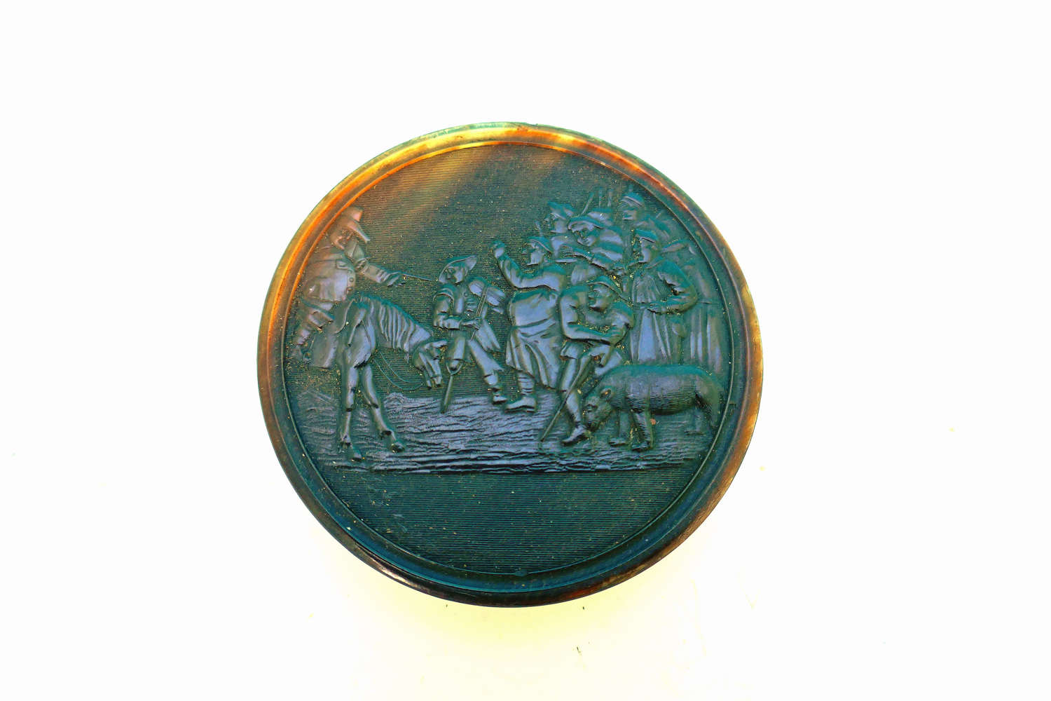 Early 19thc Horn Collectables Signed Bradwell Pressed Snuff Box.