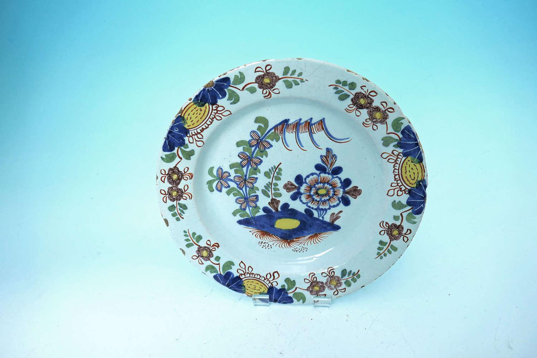 Antique 18thc English Delftware Lambeth Single Decorated Plate. C1750