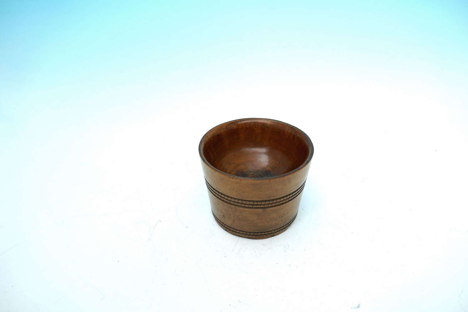 Antique Early 19thc Treen Sycamore Turned Salt With Hobnail Decoration