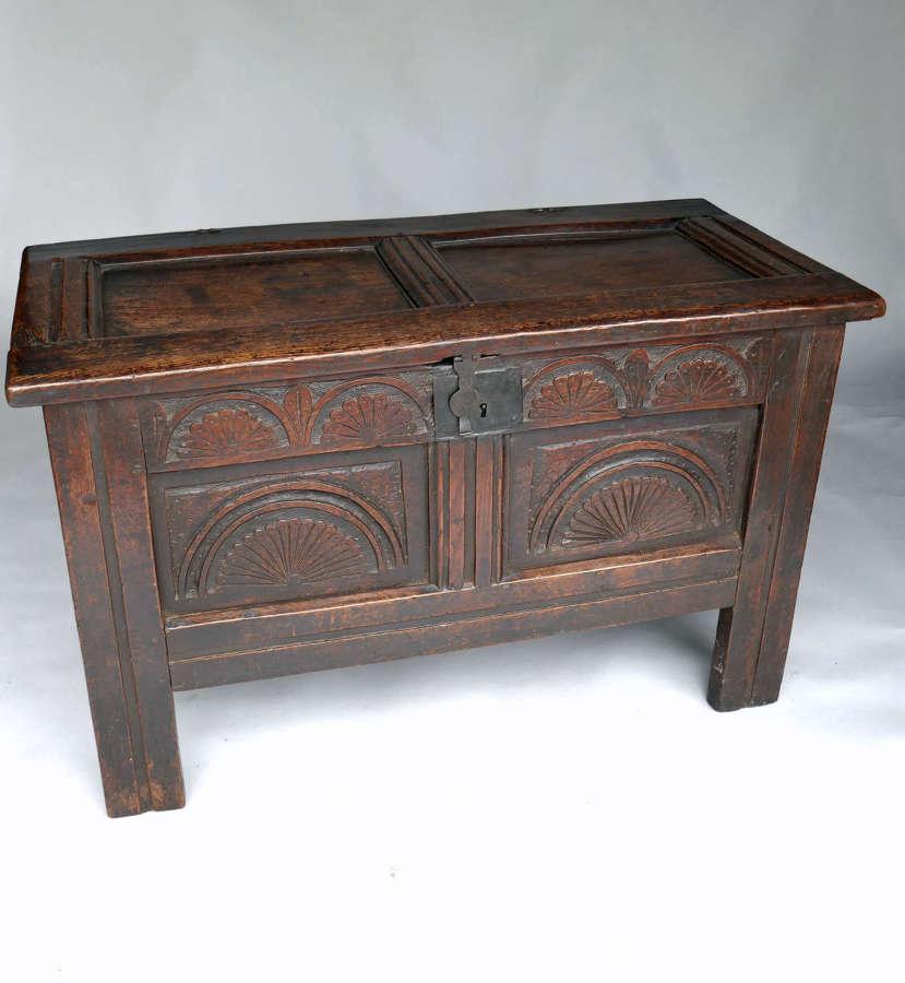 Antique 17thc Oak Furniture Joyned Panelled Coffer.  English C1640-60.