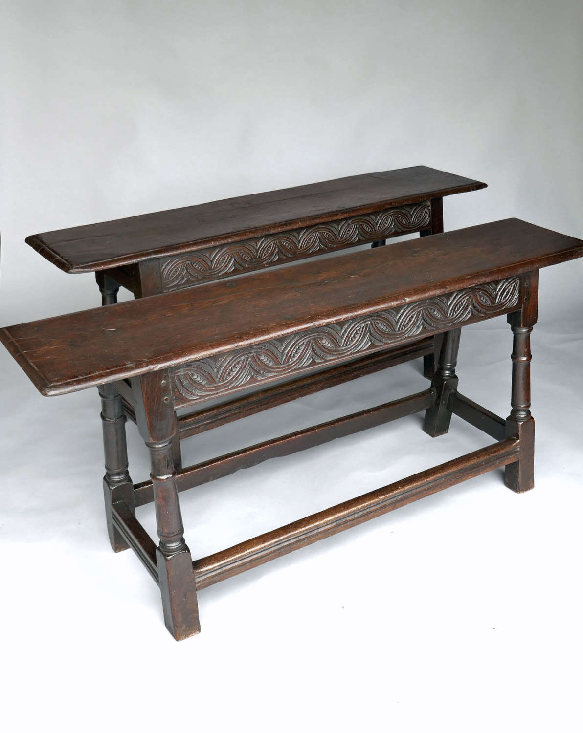 Antique Early English Furniture 17thc Pair Of Oak Joyned Benches.