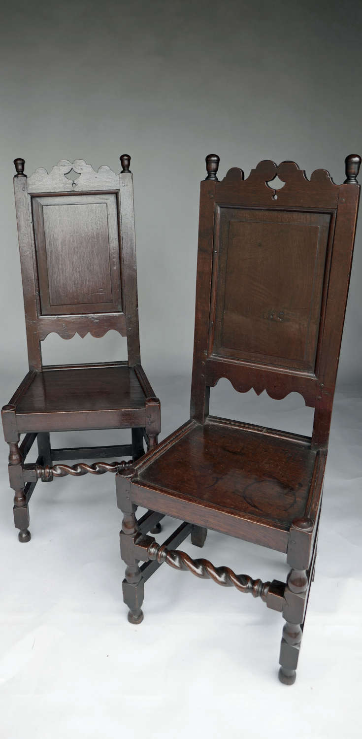 Antique Oak & Country Furniture 17thc Pair Of Joyned Oak Side Chairs.