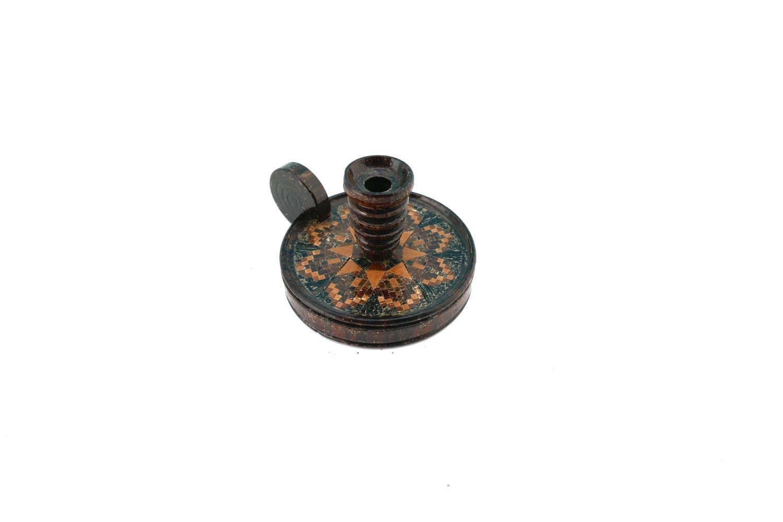 Antique 19thc Treen Miniature Tunbridge Ware Chamberstick. English