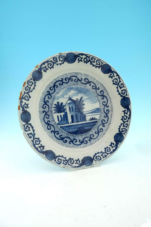 Antique Pottery 18thc Blue & White Delftware Charger.  Dutch C1770-80.