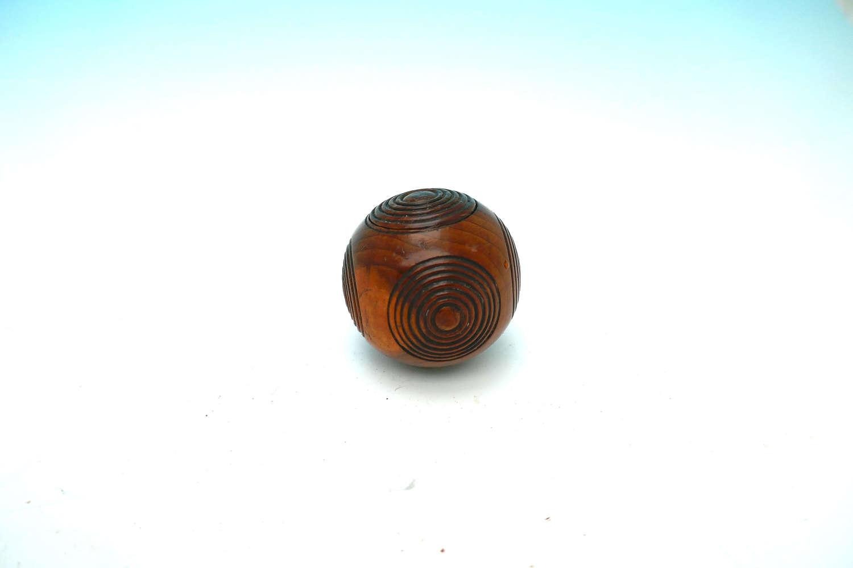 Antique Treen 19thc Yew Wood Puzzle Ball Snuff Box.  English C1820-40.