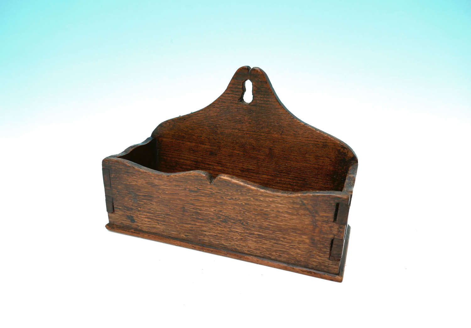 Antique Furniture 19thc Oak Wall Tidy With Shaped Design. Welsh C1800.