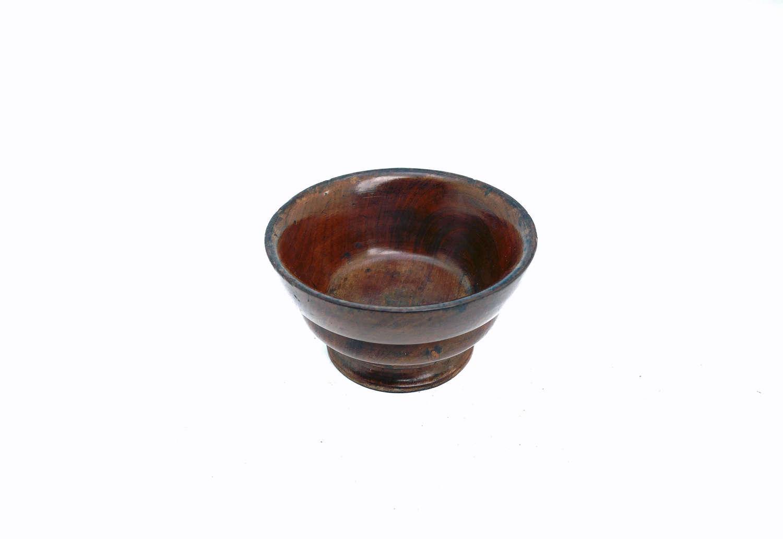 Early Treen 19thc Yew Wood Turned Table Salt. English C1800-20