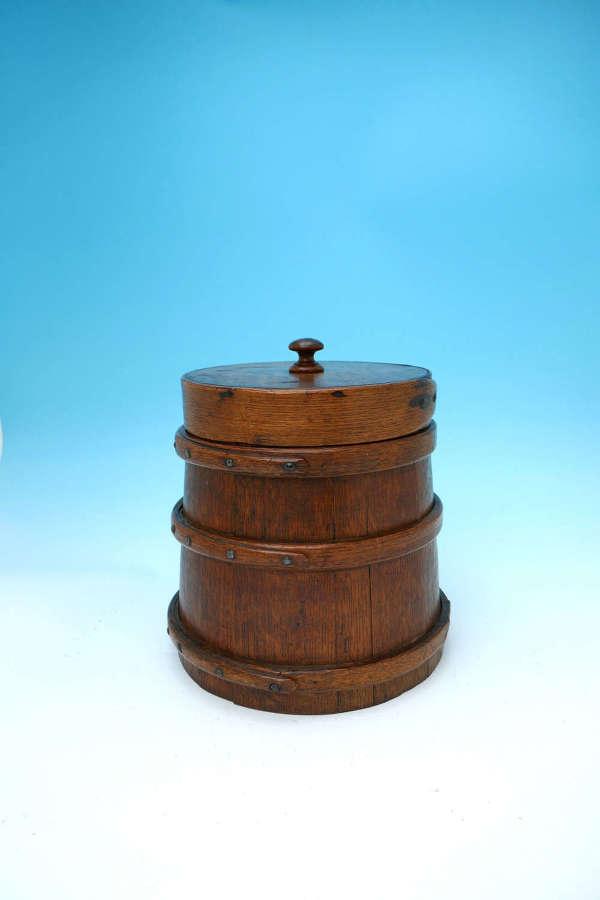 Antique Treen 19thc Oak Coopered  Lidded Flour Barrel. English C1840