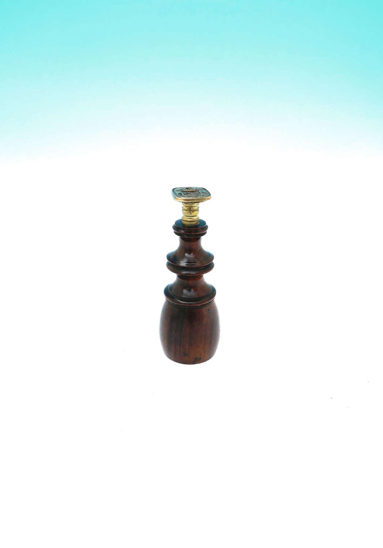 Antique Treen 19thc Mahogany & Brass Gentleman's Desk Seal Matrix.